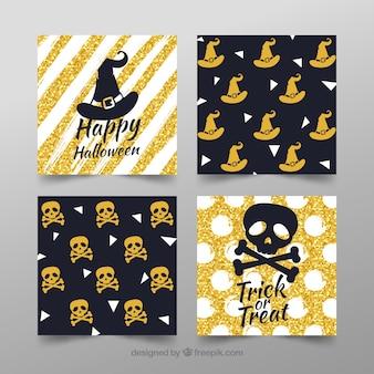 Packung von vier goldenen halloween-karten