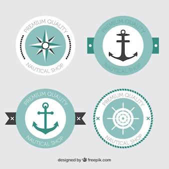 Packung von vier nautischen runden aufklebern