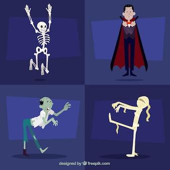 Packung von vier schönen halloween-figuren