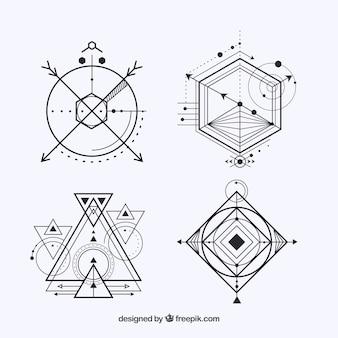 Packung von vier tattoos mit geometrischen formen
