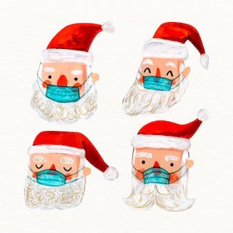 Packung weihnachtsmann mit medizinischer maske