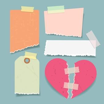 Packung zerrissenes papier mit klebeband