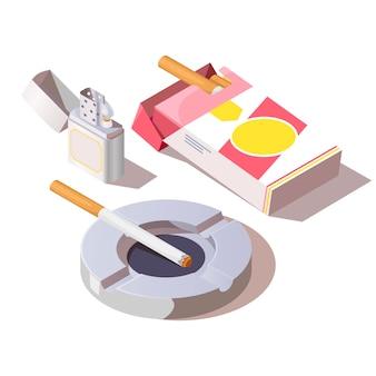 Packung zigaretten, gasanzünder und aschenbecher