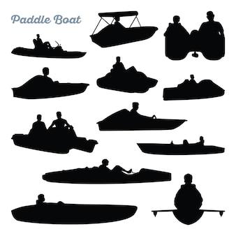 Paddelboot wasser erholung silhouette set