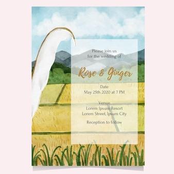 Paddy-feld-aquarellillustration für karte, einladung, plakat