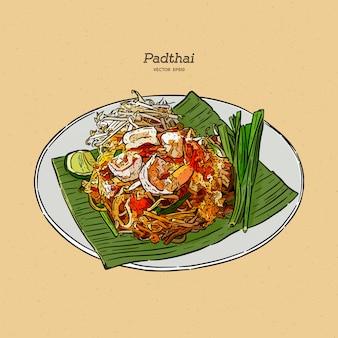 Padthai lebensmittel thailand der nudel im teller. hand zeichnen skizze.