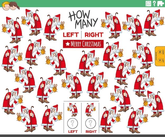 Pädagogische aufgabe des zählens von links- und rechtsgerichteten bildern vom weihnachtsmann