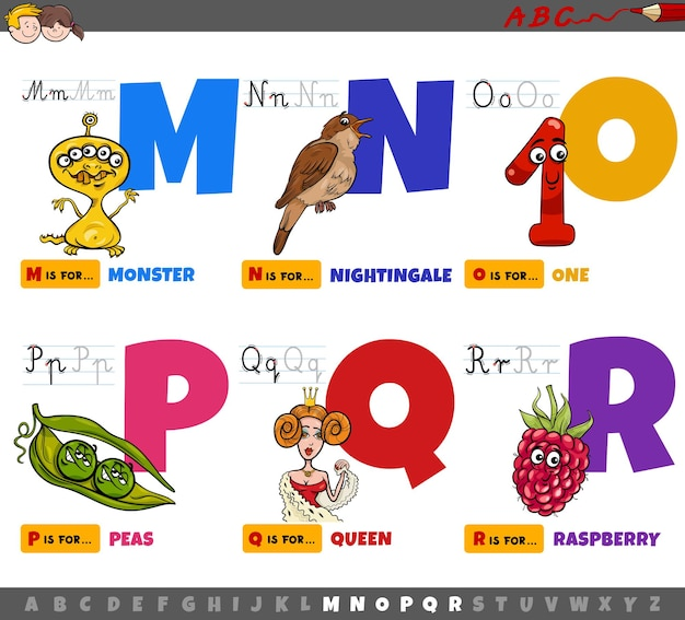 Pädagogische cartoon alphabet buchstaben für kinder von m bis r. Premium Vektoren