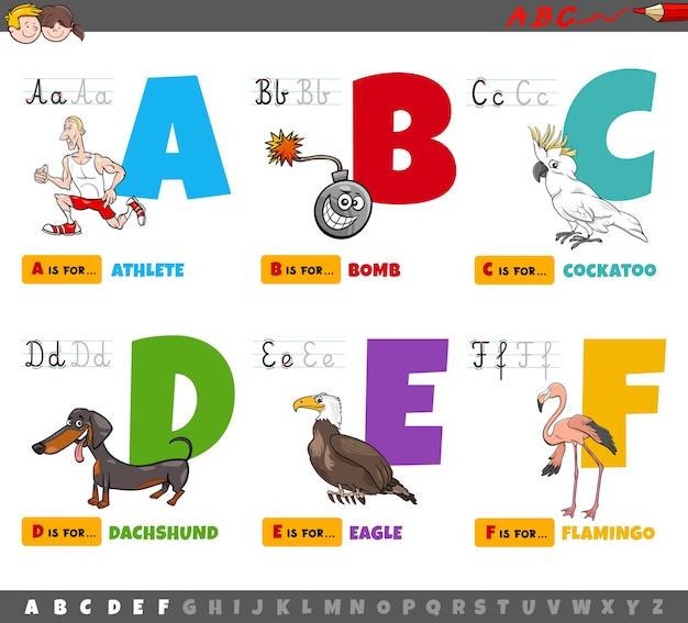Pädagogische cartoon alphabet buchstaben für kinder