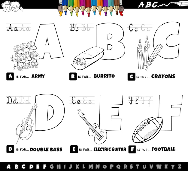 Pädagogische cartoon alphabet buchstaben von a bis f malbuch seite gesetzt