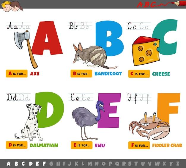 Pädagogische cartoon-alphabetbuchstaben für kinder von a bis f