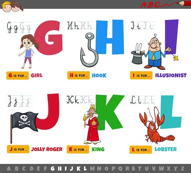 Pädagogische cartoon-alphabetbuchstaben für kinder von g bis l