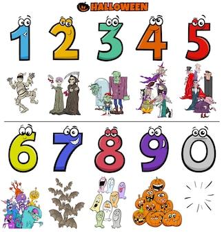 Pädagogische cartoon-zahlen mit halloween-zeichen gesetzt
