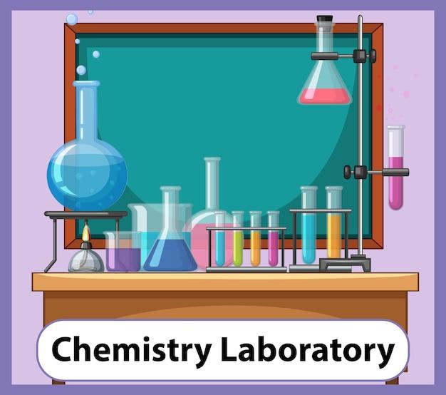 Pädagogische englische wortkarte des chemielabors