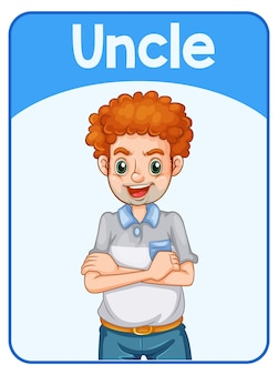 Pädagogische englische wortkarte des onkels