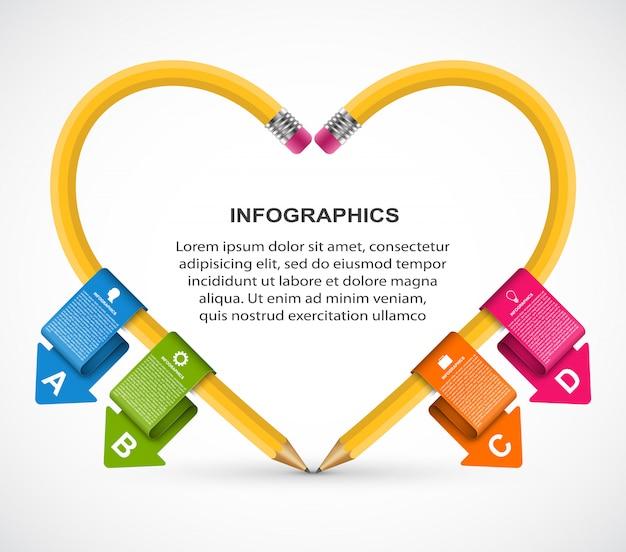 Pädagogische infografiken vorlage mit bleistift.