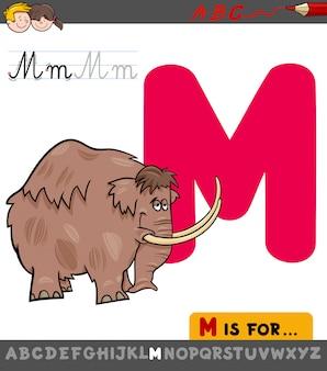 Pädagogische karikatur-illustration von buchstaben m mit mammut