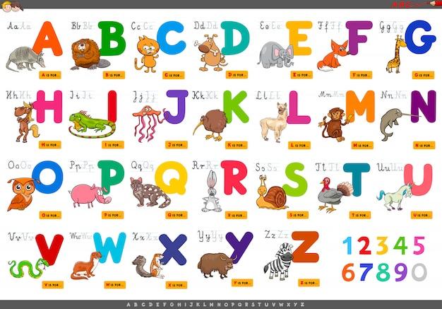 Pädagogische karikaturalphabetbuchstaben für das lernen