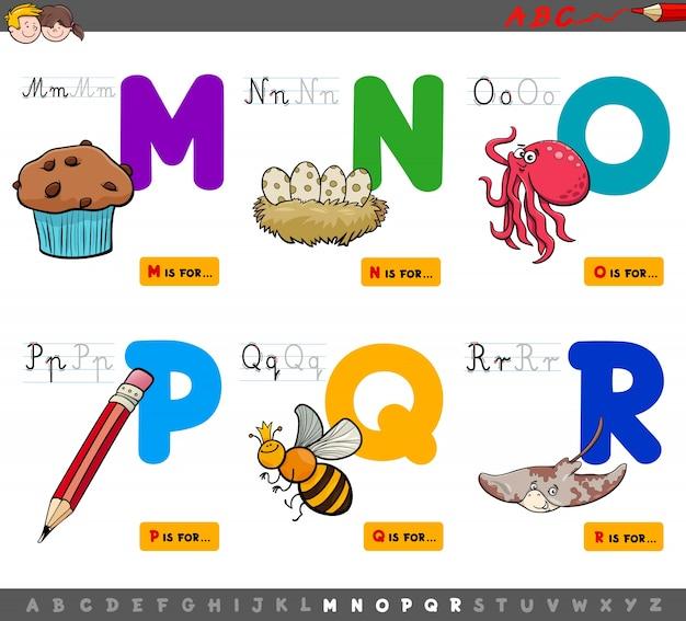 Pädagogische karikaturalphabetbuchstaben für kinder Premium Vektoren