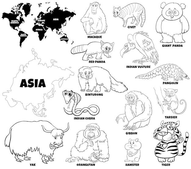 Pädagogische karikaturillustration des asiatischen tieresatzes und der weltkarte-malbuchseite