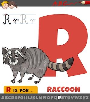 Pädagogische karikaturillustration des buchstabens r vom alphabet mit waschbärtier