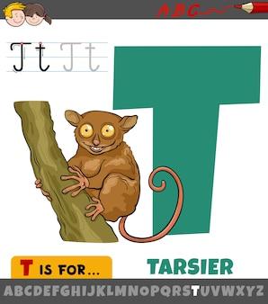 Pädagogische karikaturillustration des buchstabens t vom alphabet mit tarsier
