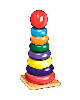 Pädagogische spielzeugpyramide aus bunten farben spritzer aquarellfarbener zeichnung realistisch