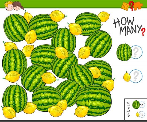 Pädagogische zählaufgabe für kinder mit früchten