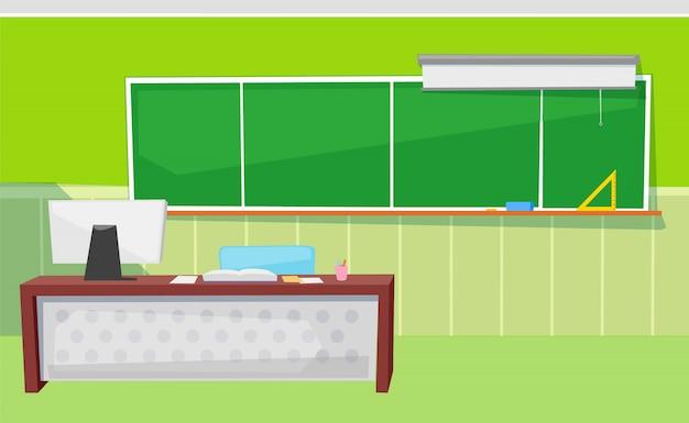 Pädagogischer platz, tafel und computer-vektor