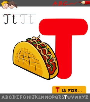 Pädagogisches arbeitsblatt des buchstaben t mit taco