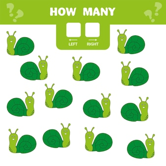 Pädagogisches arbeitsblatt für kinder im vorschulalter. links und rechts. zählen sie, wie viele schnecken nach rechts und nach links gehen.