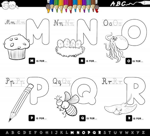 Pädagogisches karikaturalphabet buchstabiert farbenbuch