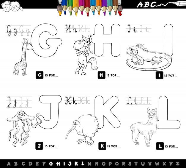 Pädagogisches karikaturalphabet des farbbuches für kinder