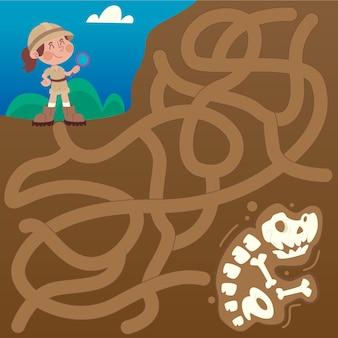 Pädagogisches labyrinth für kinder mit dinosaurierknochen