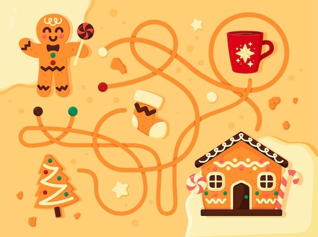 Pädagogisches labyrinth für kinder mit lebkuchenmann