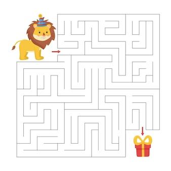 Pädagogisches labyrinthspiel für kinder. hilf dem löwen, einen weg zum geschenk zu finden.