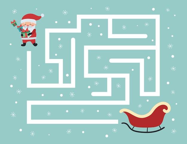 Pädagogisches labyrinthspiel für kinder im vorschulalter, hilf dem weihnachtsmann mit geschenken, den richtigen weg zu seinem schlitten zu finden