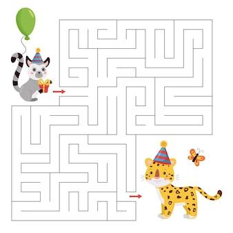 Pädagogisches labyrinthspiel für kinder im vorschulalter. niedlicher cartoon-lemur mit ballon und geschenk finden den richtigen weg zum leoparden.