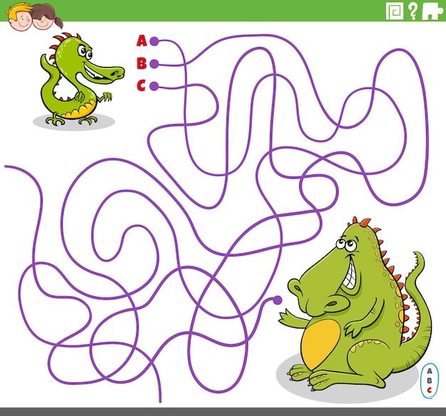 Pädagogisches labyrinthspiel mit cartoon-baby-drachen und seiner mutter