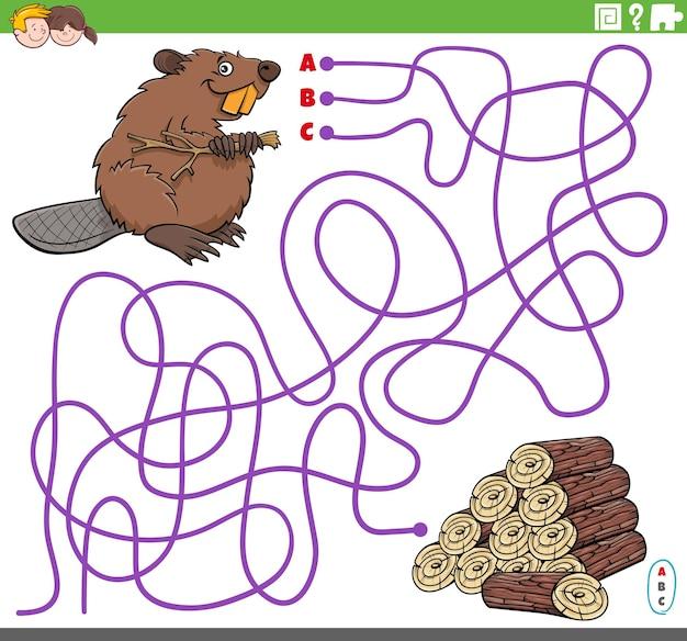 Pädagogisches labyrinthspiel mit cartoon-biber und holzstämmen