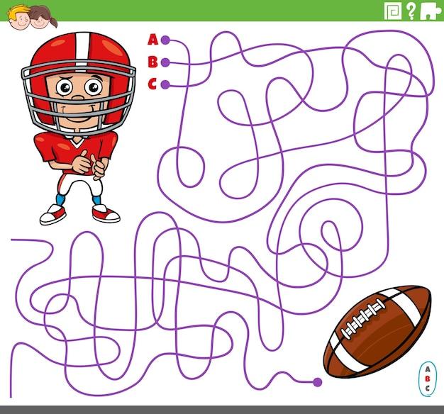 Pädagogisches labyrinthspiel mit cartoon-fußballer und ball