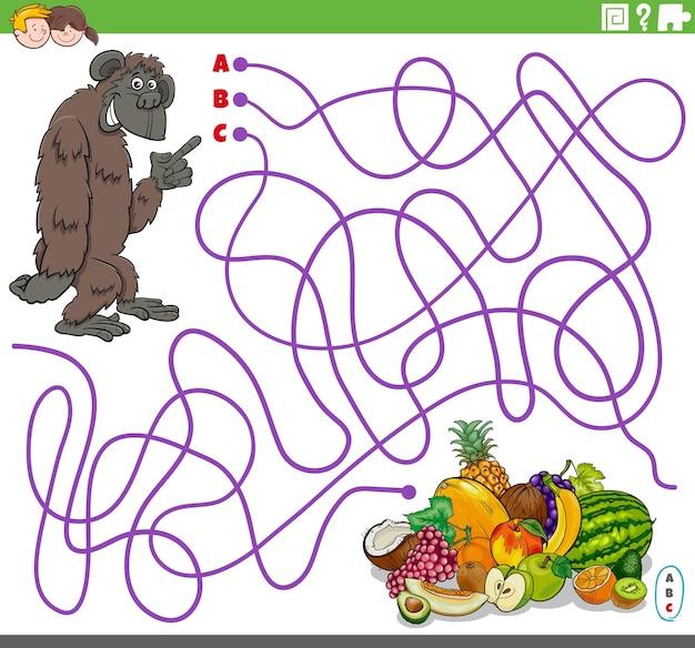 Pädagogisches labyrinthspiel mit cartoon-gorilla und früchten