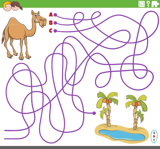 Pädagogisches labyrinthspiel mit cartoon-kamel und oase