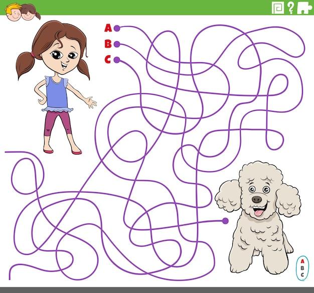 Pädagogisches labyrinthspiel mit cartoon-mädchen und pudelhund