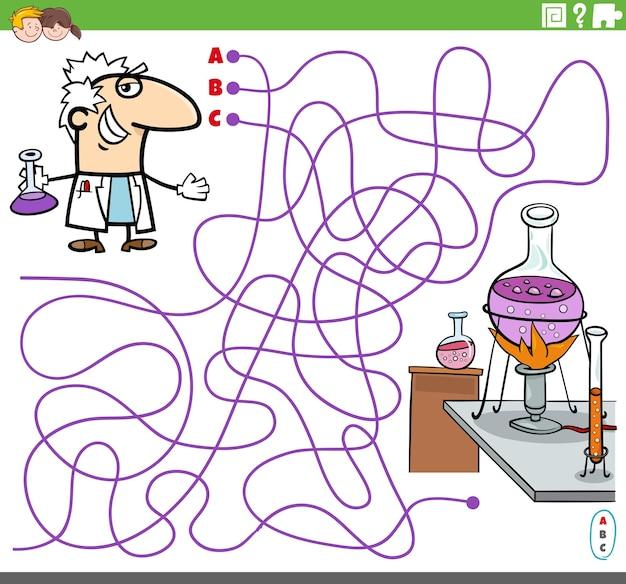 Pädagogisches labyrinthspiel mit cartoon-wissenschaftler und labor