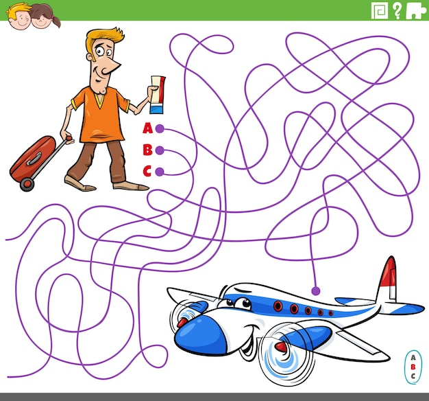 Pädagogisches labyrinthspiel mit cartoonmann und flugzeug