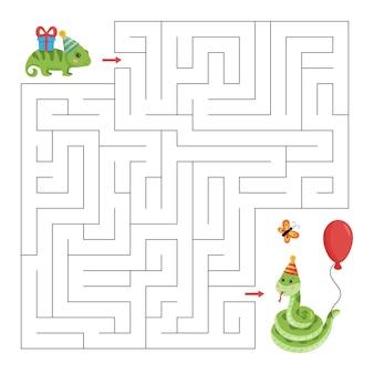 Pädagogisches labyrinthspiel mit chamäleon und schlange. geburtstagsthema.