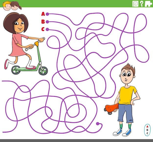 Pädagogisches labyrinthspiel mit karikaturmädchen und -junge
