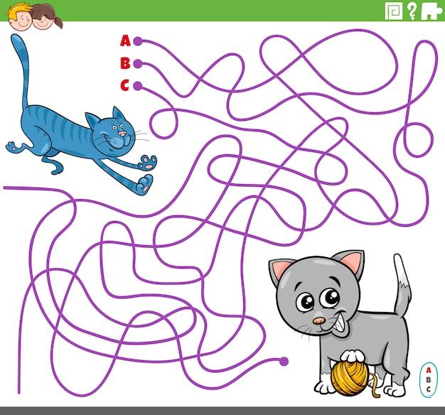 Pädagogisches labyrinthspiel mit verspielten cartoonkatzen