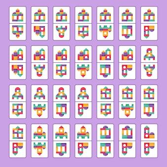 Pädagogisches logikspiel für kinder. brettspiel domino. bausteine für kinder.